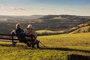Taking a rest while Hiking the North Downs